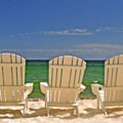Five Chairs On The Beach Art Print