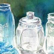 Five Jars In Window Art Print by Sukey Watson