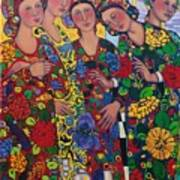 Five Women And The Iris Art Print