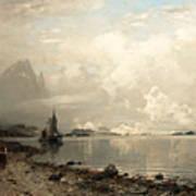 Fjord Landscape With Figures Art Print