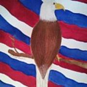 Flag And Eagle Art Print