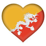 Flag Of Bhutan Heart Art Print