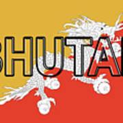 Flag Of Bhutan Word Art Print