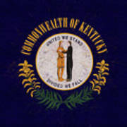 Flag Of Kentucky Grunge Art Print
