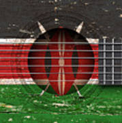 Flag Of Kenya On An Old Vintage Acoustic Guitar Art Print