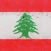 Flag Of Lebanon Grunge Art Print