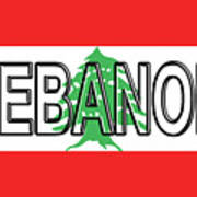 Flag Of Lebanon Word Art Print