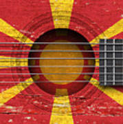 Flag Of Macedonia On An Old Vintage Acoustic Guitar Art Print