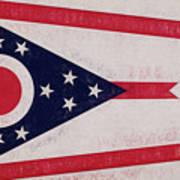 Flag Of Ohio Grunge Art Print