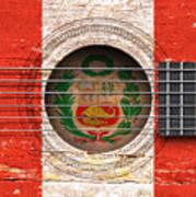 Flag Of Peru On An Old Vintage Acoustic Guitar Art Print