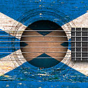 Flag Of Scotland On An Old Vintage Acoustic Guitar Art Print