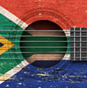 Flag Of South Africa On An Old Vintage Acoustic Guitar Art Print