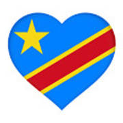 Flag Of The Congo Heart Art Print