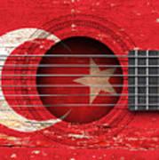 Flag Of Turkey On An Old Vintage Acoustic Guitar Art Print