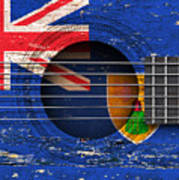 Flag Of Turks And Caicos On An Old Vintage Acoustic Guitar Art Print