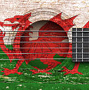 Flag Of Wales On An Old Vintage Acoustic Guitar Art Print