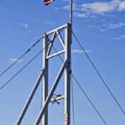 Flag On Perkins Cove Bridge - Maine Art Print