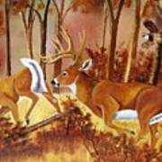 Flagging Deer Art Print