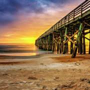 Flagler Beach Pier At Sunrise In Hdr Art Print