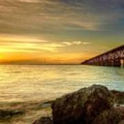 Flagler Bridge At Sunset Art Print