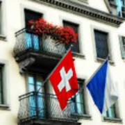 Flags Of Switzerland And Zurich Art Print