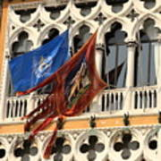 Flags On Palazzo In Venice Art Print