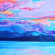 Flagstaff Lake Winter Sunset Art Print