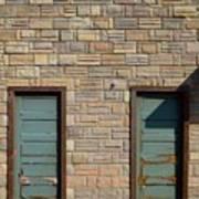 Flagstone Wall And Two Green Doors Art Print