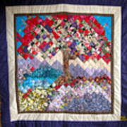 Flame Tree Quilted Wallhanging Art Print by Sarah Hornsby