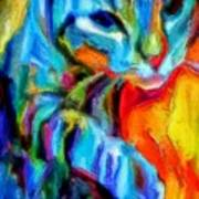 Flaming Blue And Orange Kitty Cat Tiger Resting Gently From The Prowl Art Print