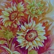 Flaming Sunflowers Art Print by Summer Celeste