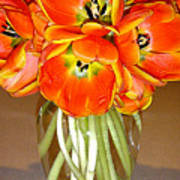 Flaming Tulips In A Vase Art Print