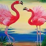 Flamingo Courtship Dance Art Print