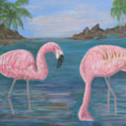 Flamingo Cove Art Print