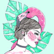 Flamingo Girl Art Print