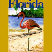 Flamingo In Florida Shirt Art Print