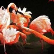 Flamingo Mingles Art Print