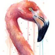 Flamingo Painting Watercolor - Facing Right Art Print