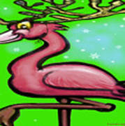 Flamingo Reindeer Art Print