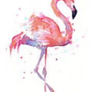 Flamingo Watercolor Facing Right Art Print