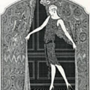 Flapper Opening A Curtain Art Print