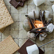 Flat Lay Camp Fire S'mores Deconstructed Art Print