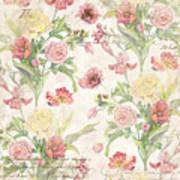 Fleurs De Pivoine - Watercolor In A French Vintage Wallpaper Style Art Print