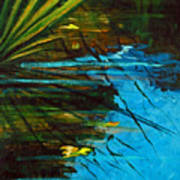 Floating Gold On Reflected Blue Art Print