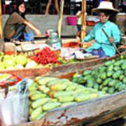 Floating Market In Thailand Art Print