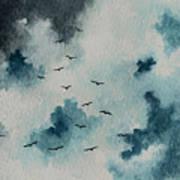 Flock Of Birds Against A Dark Sky  Art Print