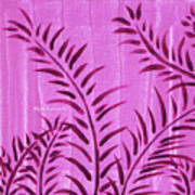 Flora Fauna Tropical Abstract Leaves Painting Magenta Splash By Megan Duncanson Art Print
