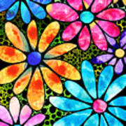 Floral Art - Big Flower Love - Sharon Cummings Art Print