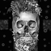 Floral Beard Skull 3 Art Print