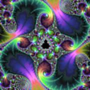 Floral Fractal Art Jewel Tones Vertical Art Print